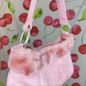 Y2K, Pink Faux Fur Trim Mini Purse